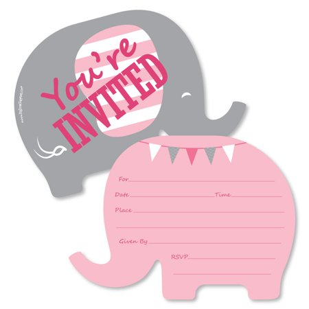 Pink Elephant - Shaped Fill-In Invitations - Girl Baby Shower or Birthday Party Invitation Cards with Envelopes - 12 Ct - Halloween First Birthday Photo Invitations