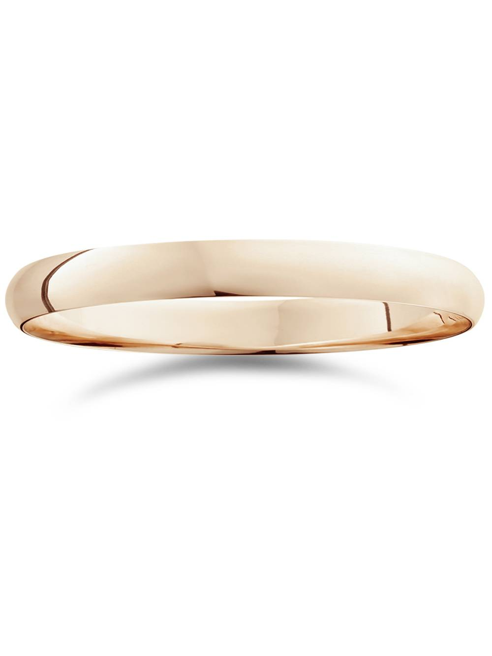 3mm Dome High Polished Wedding Band 14K Rose Gold