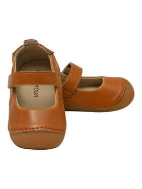 Little Girls Tan Flexible Mary Jane Shoes