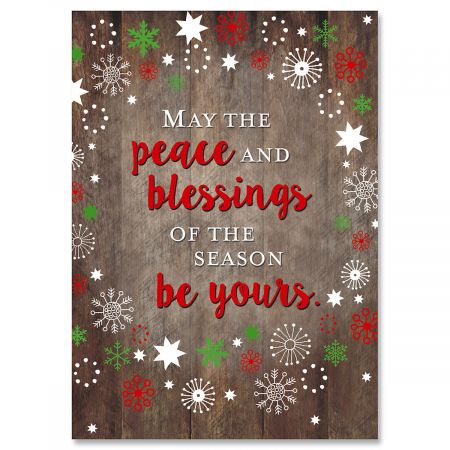 Weathered Wood Christmas Greeting Cards- Set of 18 Holiday Greeting Cards