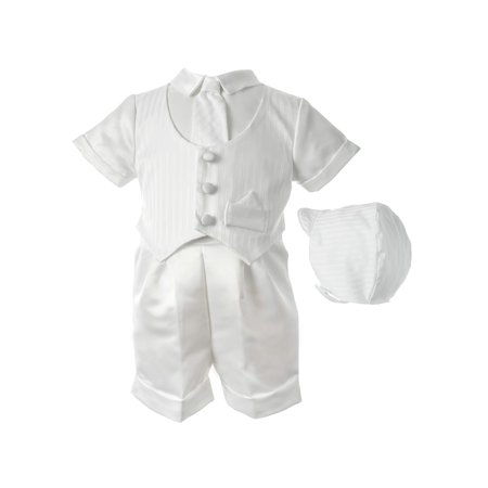 Little Angels Christening Baptism Satin Striped Vested Short Set with Satin Boxer Shorts and Hat (Baby Boys)](Baby Christening Decorations)