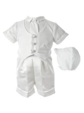 af92f9d0f43 Product Image Christening Baptism Satin Striped Vested Short Set with Satin  Boxer Shorts and Hat (Baby Boy