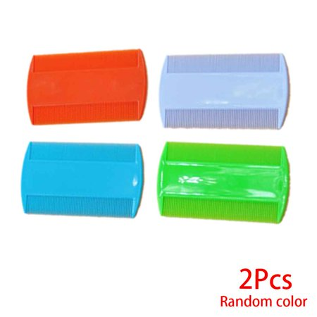 2PCS Plastic Pure Color Fine Tooth Head Lice Flea Pet Hair Combs Double Sided Nit Kids (Fine Lice Comb)