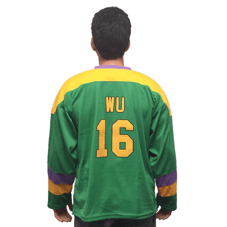 Ken Wu #16 Mighty Ducks Movie Hockey Jersey Kenny Costume D2 Ice Skater 90's (Halloween Kenny Powers)