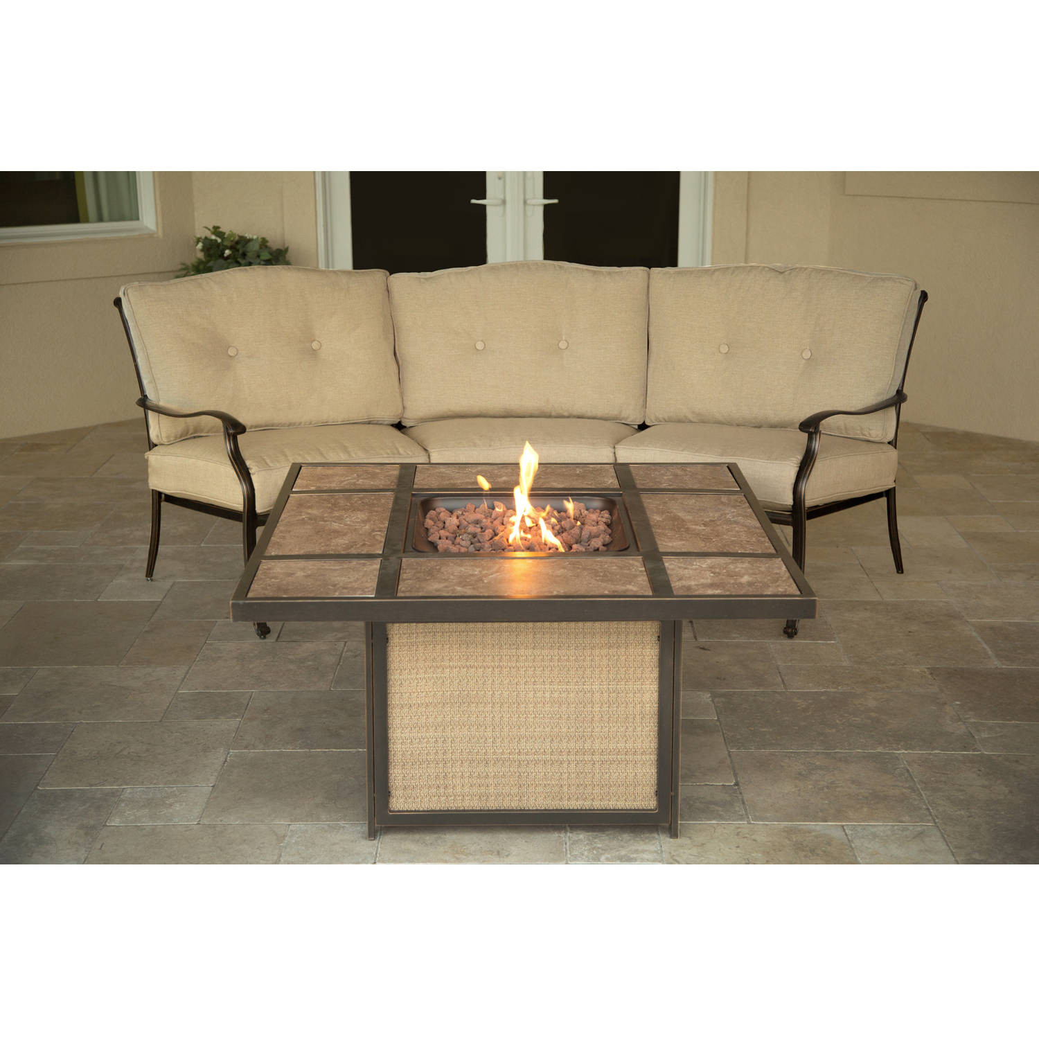 Hanover Outdoor Traditions 2-Piece Tile-Top Firepit Lounge Set, Natural Oat Bronze by Firepits