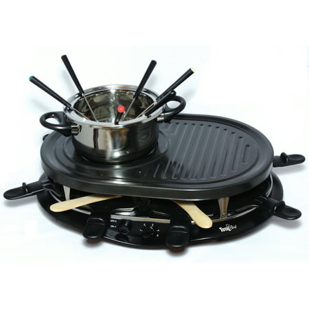 Total Chef TCRF08BN 1200 Watts 8-Person Raclette Party Grill with Fondue Pot by Koolatron