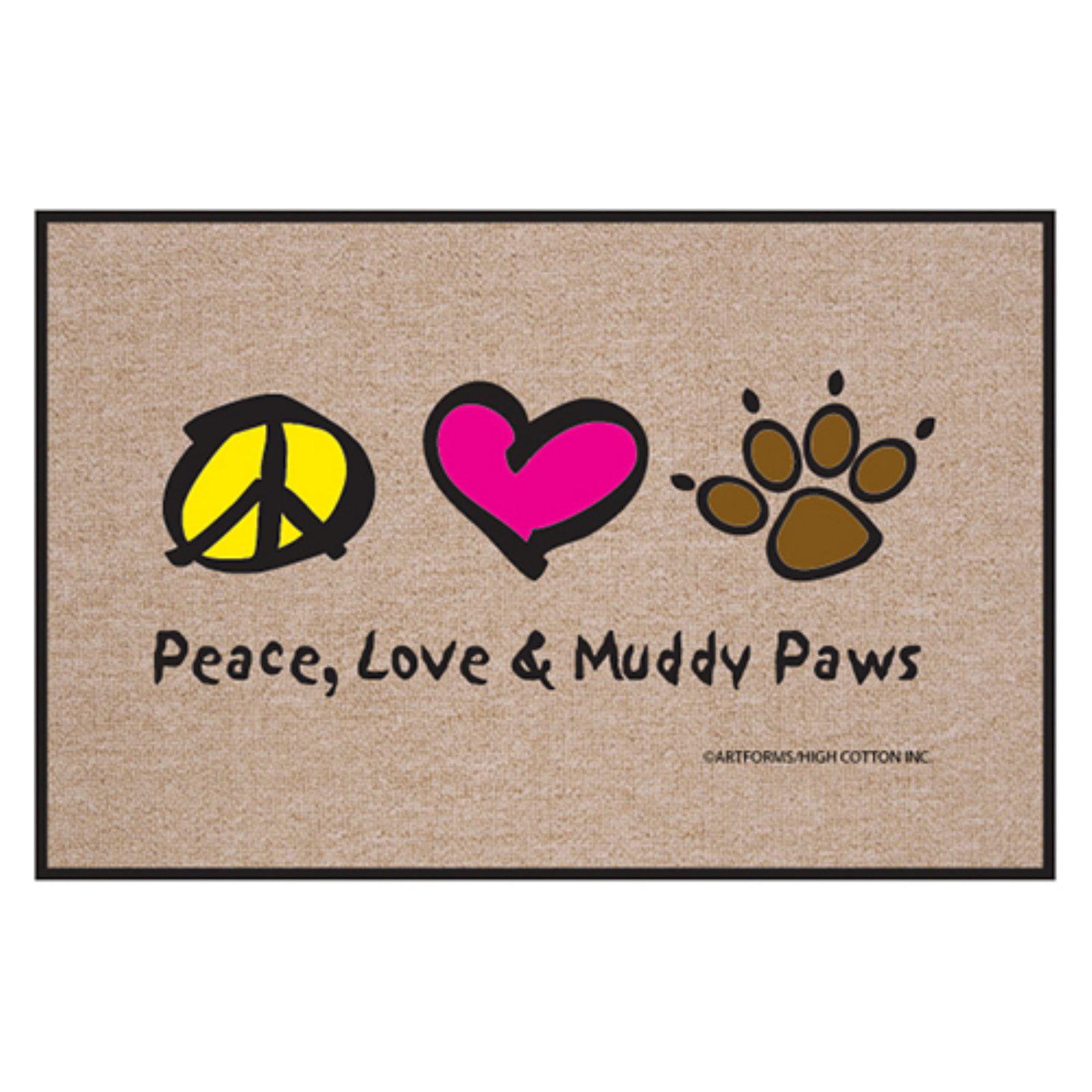 High Cotton Peace Love Paws Indoor / Outdoor Door Mat