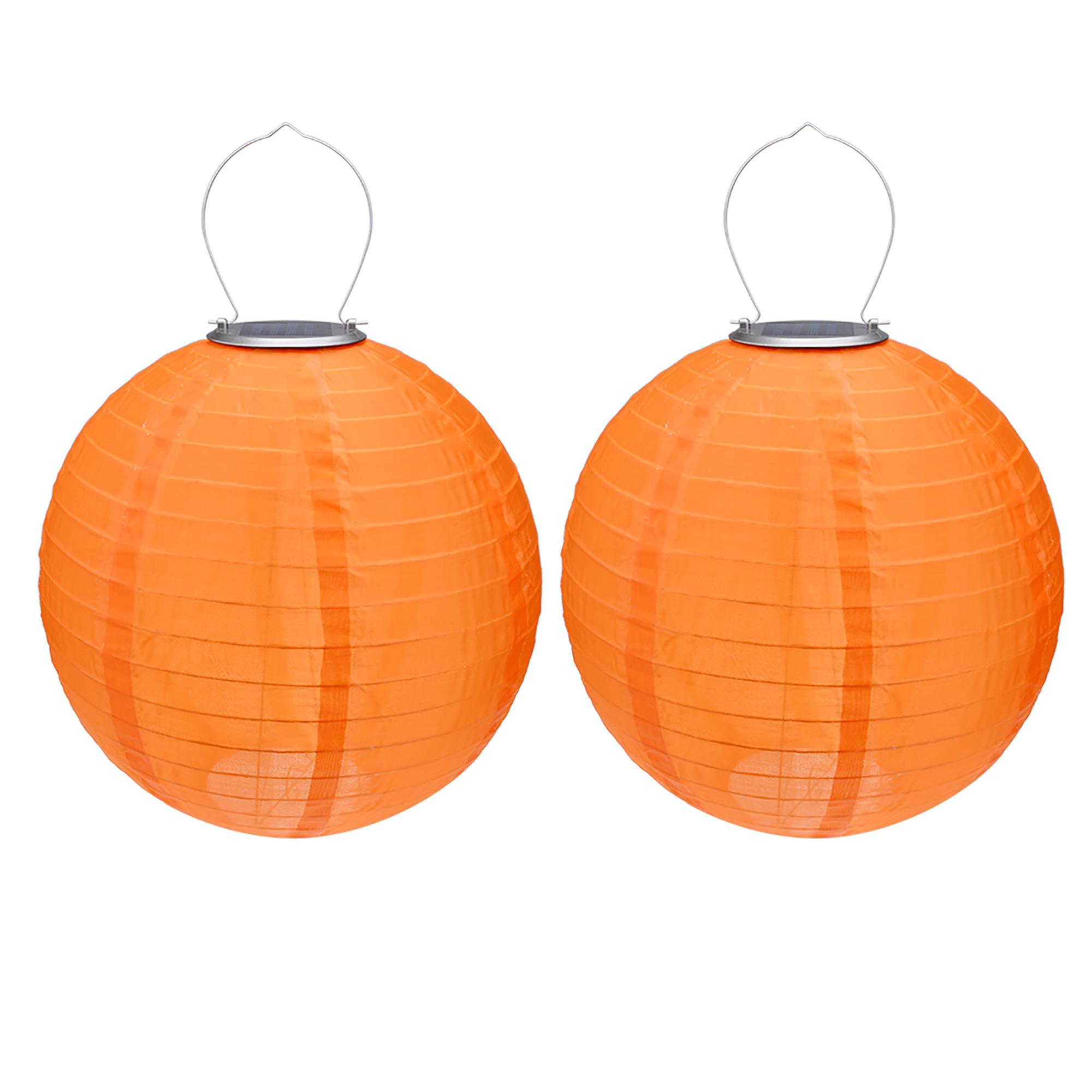 "2 Packs Orange 12"" Solar Powered Lanterns Hanging Solar Lamps  Garden"