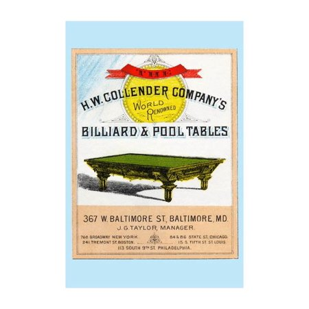 The H.W. Collender Company's World Renown Billiard & Pool Tables Print (Unframed Paper Print 20x30)