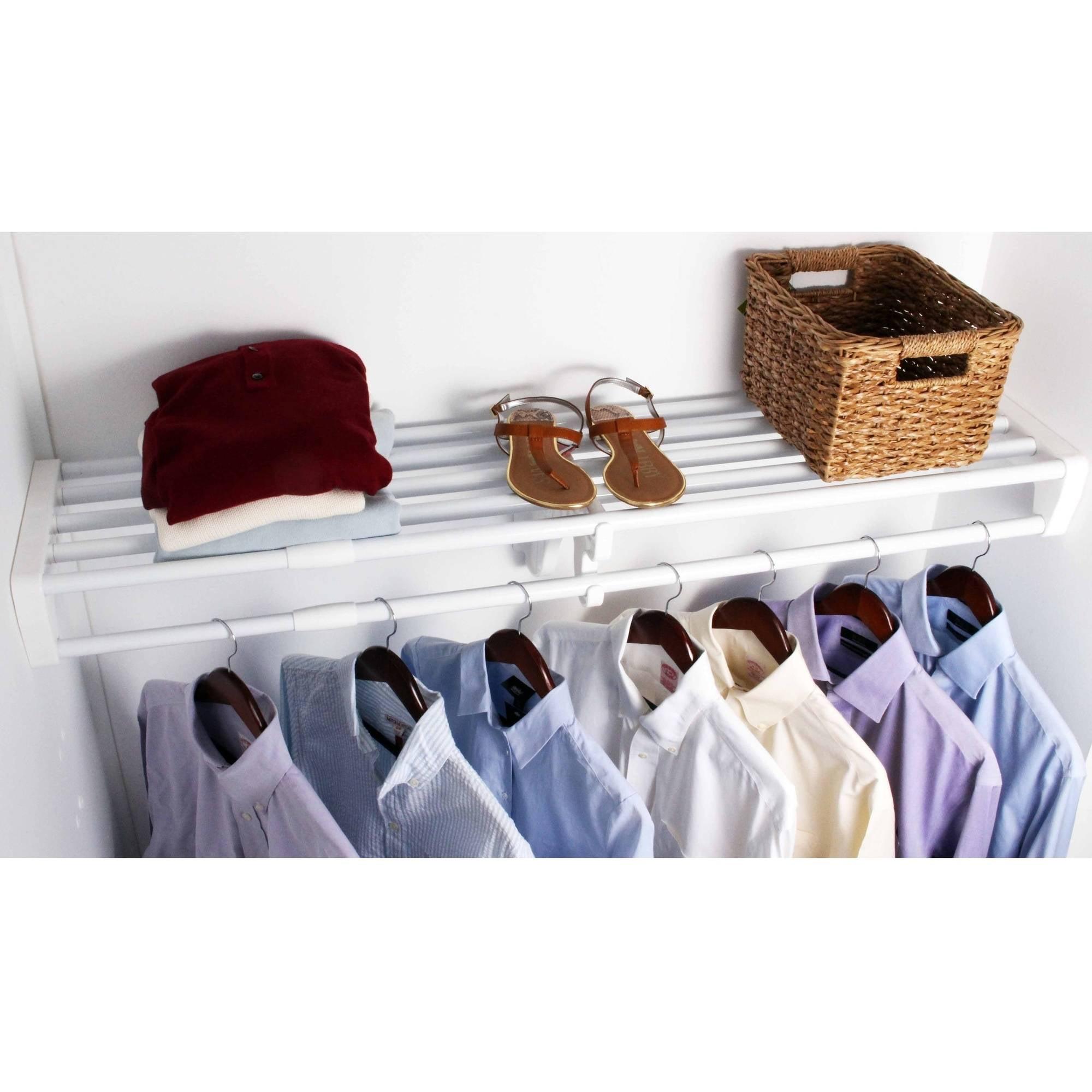 "EZ Shelf Expandable Closet Shelf and Rod with No Brackets, 40""-73"", White"