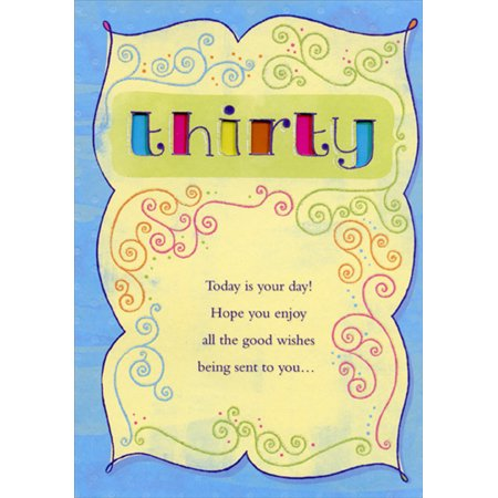 Designer Greetings Thirty: Colored Letters Die Cut Windows with Blue Border Age 30 / 30th Birthday Card