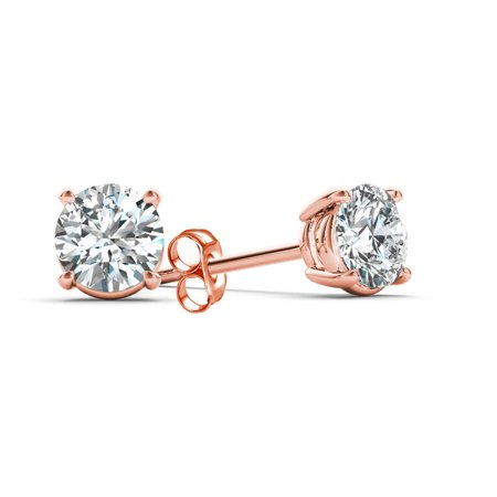 1 1/2 Carat T.W. Diamond Solitaire 14kt Rose Gold Earrings (SI)
