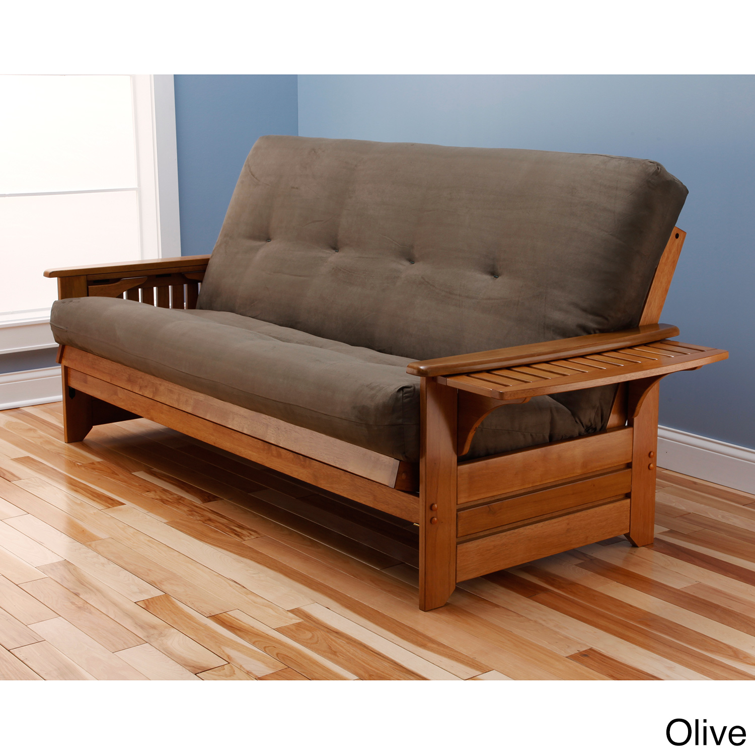 Somette Ali Phonics Multi flex Honey Oak Full size Wood Futon