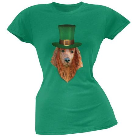St. Patricks Day - Irish Setter Leprechaun Kelly Green Soft Juniors - Saint Patricks Day Crafts