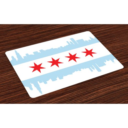 Rise Against Flag - Chicago Skyline Placemats Set of 4 City of Chicago Flag with High Rise Buildings Scenery National, Washable Fabric Place Mats for Dining Room Kitchen Table Decor,Red White Baby Blue, by Ambesonne
