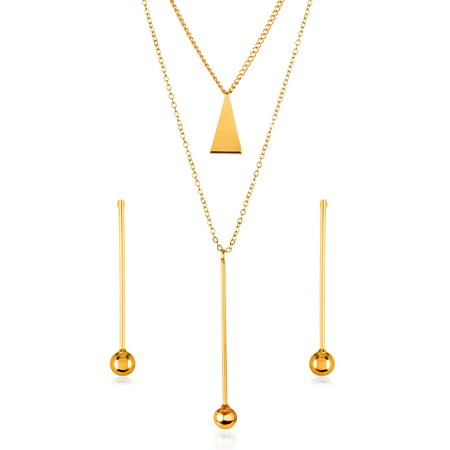 - Gold Tone Bar Ball Drop Charm Necklace and Earrings Jewelry Set