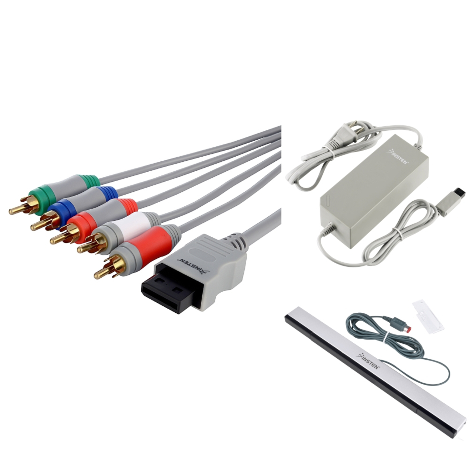 Insten For Nintendo Wii US AC Power Adapter Charger + Wired Sensor Bar + Component Audio Video AV HDTV Cable
