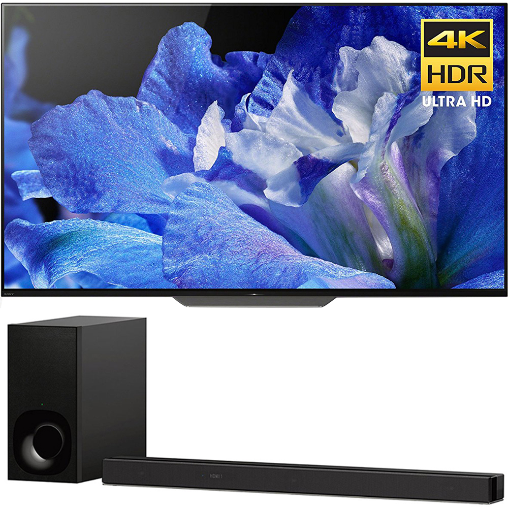 """Sony BraviaXBR65A8F 65"""" 4K HDR10 HLG Dolby Vision Triluminos OLED TV 3840x2160 & Sony HTZ9F 3.1Ch 4K HDR Compatible Dolby Atmos Soundbar with Built-in WiFi & Bluetooth"""