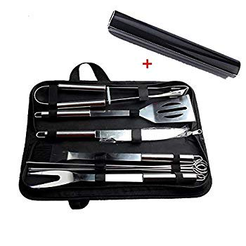 Image of Barbecue Accessories BBQ Grill Tools With 10 PCS Grill Set Stainless Steel Utensils With A Grill Mat BBQ Tool Stainless Steel Spatula, Fork, Tongs, & Basting Brush In Carrying Case - GREAT GIFT