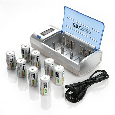 Ebl 8 Pack Ni Mh Size C Rechargeable Batteries Lcd
