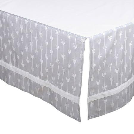 Grey Arrow Tailored Crib Dust Ruffle with White Stripe by, This tailored crib dust ruffle from The Peanut Shell features a contemporary arrow print.., By The Peanut Shell Ship from US