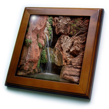 3dRose USA, Arizona, Grand Canyon National Park. Waterfall at Elves Chasm. - Framed Tile, 6 by 6-inch Grand Canyon Arizona Framed