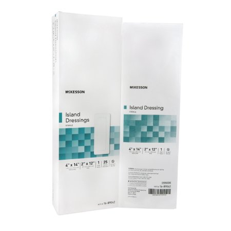 Polypropylene Sterile - McKesson Adhesive Dressing  4 X 14 Inch, Polypropylene / Rayon, Rectangle, White, Sterile, Box of 25