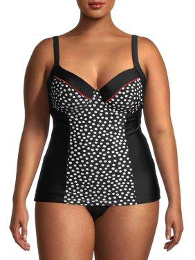 Cyn And Luca Plus Tango Dot Swimsuit Tankini Top