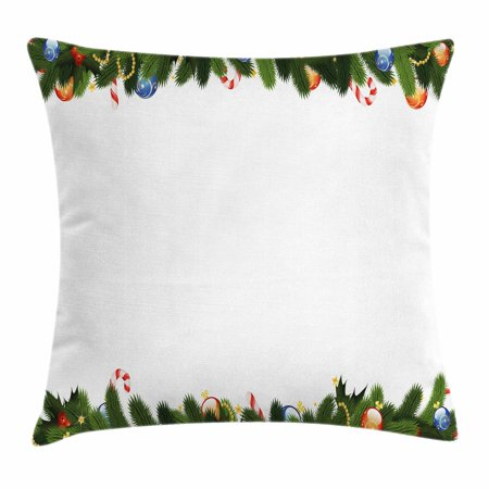 New Year Throw Pillow Cushion Cover, Fir Tree Branches with Christmas Theme Candy Canes Baubles Festive Winter Holiday, Decorative Square Accent Pillow Case, 16 X 16 Inches, Multicolor, by Ambesonne](Winter Holiday Themes)