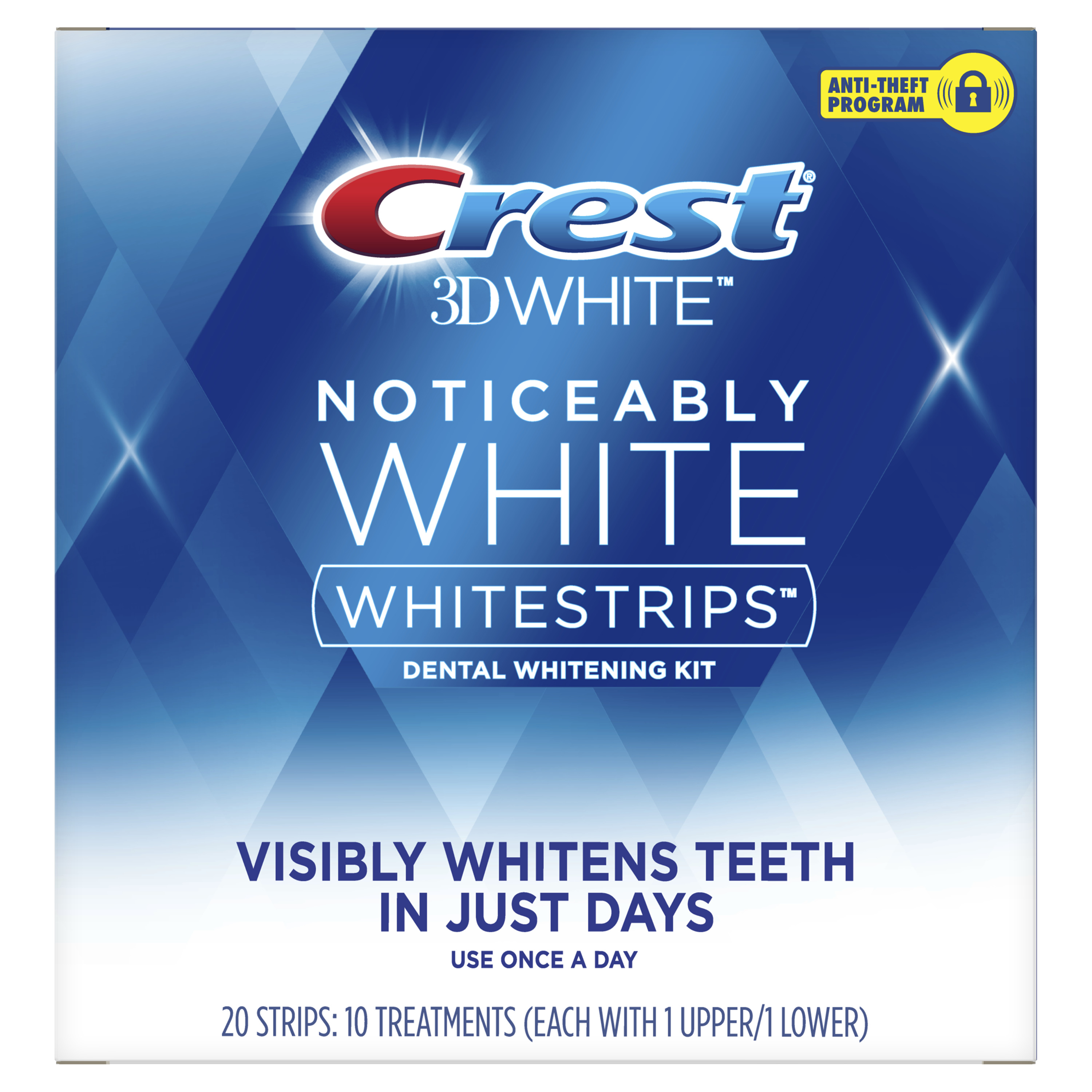 Crest Noticeably White Whitestrips Teeth Whitening Kit, 10 Treatments