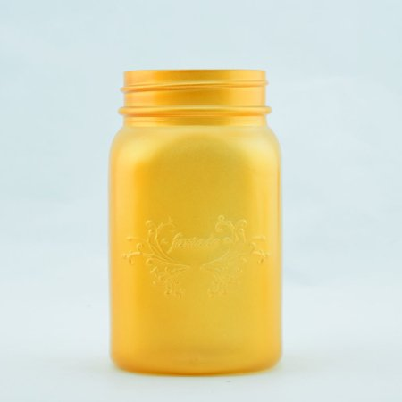 One Pint (Fantado Regular Mouth Frosted Yellow Gold Mason Jar w/ Handle, 16oz / 1 Pint by)