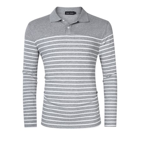 Yong Horse Men's Casual Long Sleeve Striped Slim Fit Polo T Shirts Gray