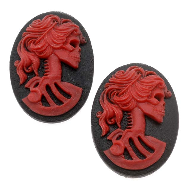 Lucite Oval Cameo - Black With Red Lolita Skeleton 25x18mm (2 Pieces)