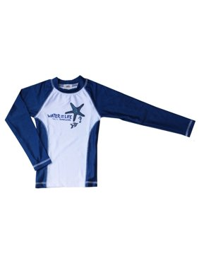Azul Little Boys Navy Water Life Print Long Sleeved Rash Guard