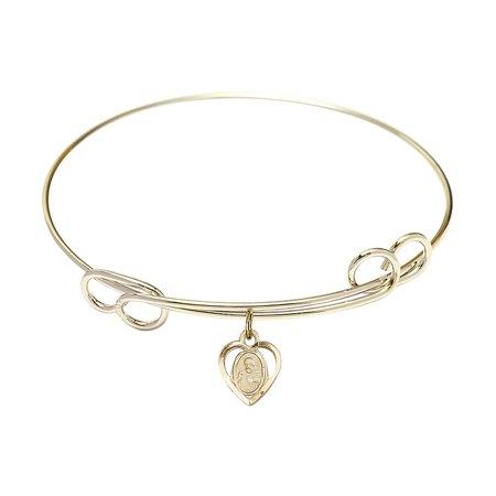 7 1/2 inch Round Double Loop Bangle Bracelet w/ Scapular in - 1/2 Inch Bangle Bracelet