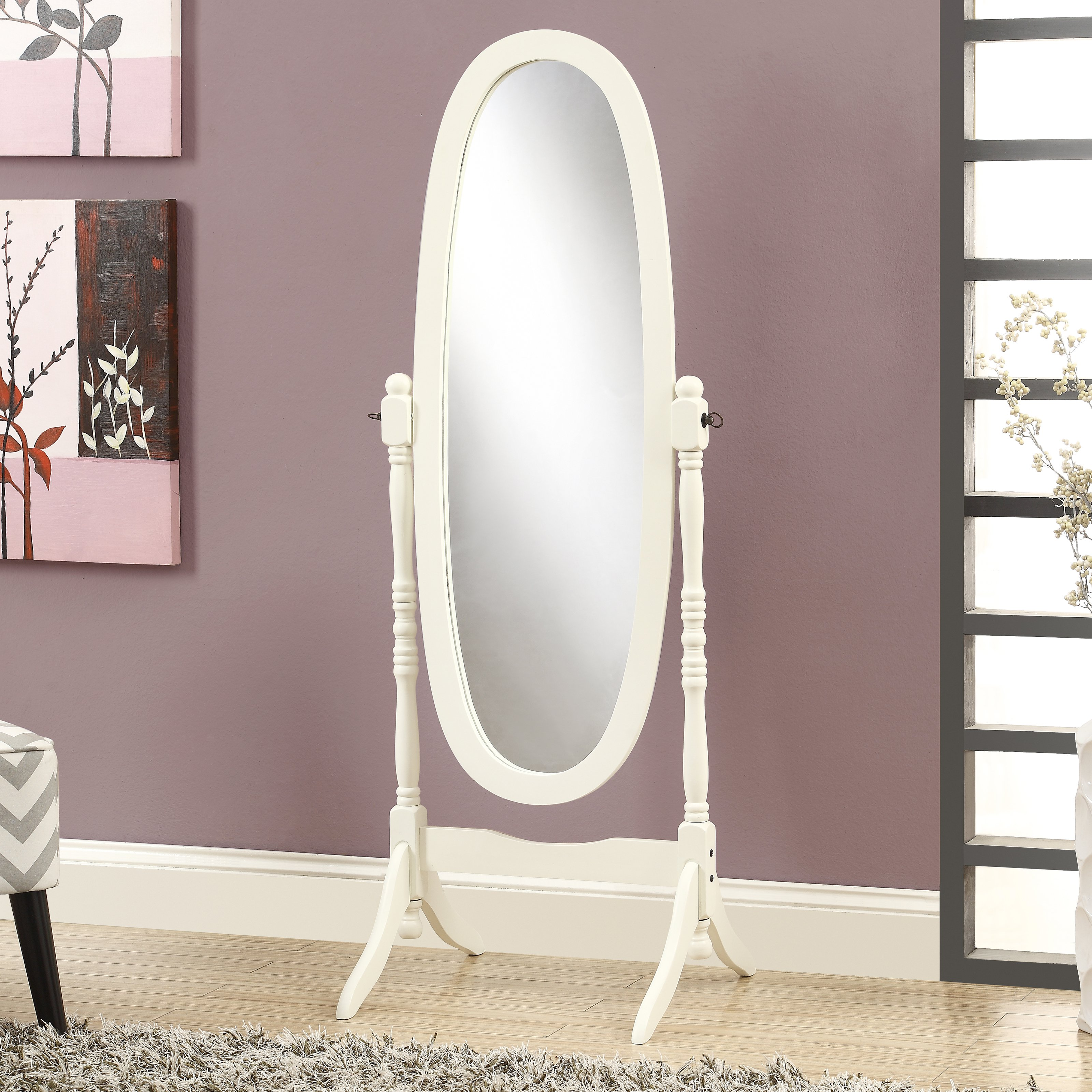 "Mirror - 59""H / Antique White Oval Wood Frame"