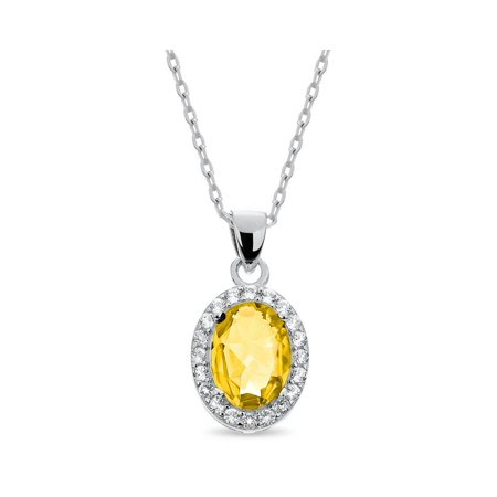 Sterling Silver Rhodium Plated Oval Citrine and Created White Topaz Halo Necklace 18 Inches (Citrine Rhodium Plated)