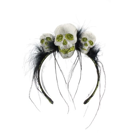 Bauer Pacific Women's Glitter Skull Trio Lace Feather Halloween Headband - Halloween Trios