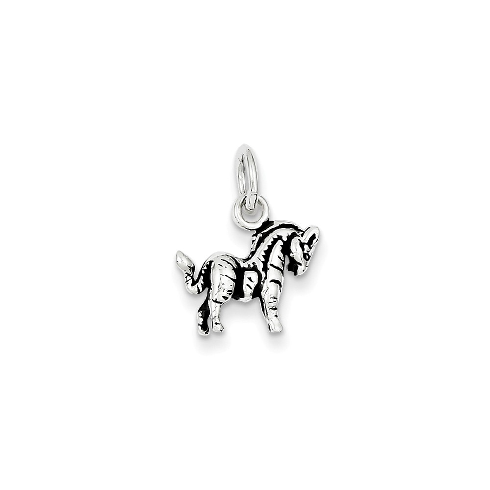Sterling Silver Antiqued Horse Charm (0.5in)