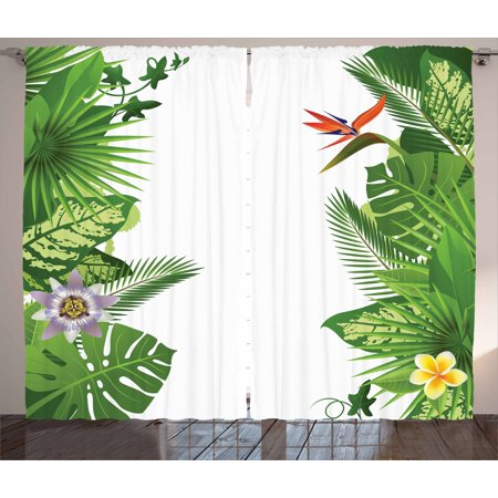 Tropical Curtains 2 Panels Set, Lush Growth Rainforest of Hawaii with Frangipani Philodendron Birds of Paradise, Window Drapes for Living Room Bedroom, 108W X 63L Inches, Multicolor, by Ambesonne