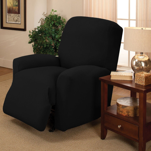 COUCH COVER FURNITURE SOFA BLACK JERSEY RECLINER STRETCH SLIPCOVER KASHI HOME