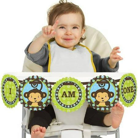 Monkey Boy 1st Birthday - I Am One - First Birthday High Chair Banner