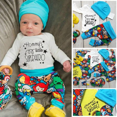Newborn Baby Boys Superhero T-shirt Pants Leggings Hat 3pcs Outfits Clothes - Superhero Toddler
