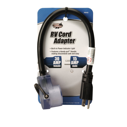 Road Power 09542-90-08 14/3-Gauge 15-30-Amp RV Adaptor Power Cord, 18-Inches