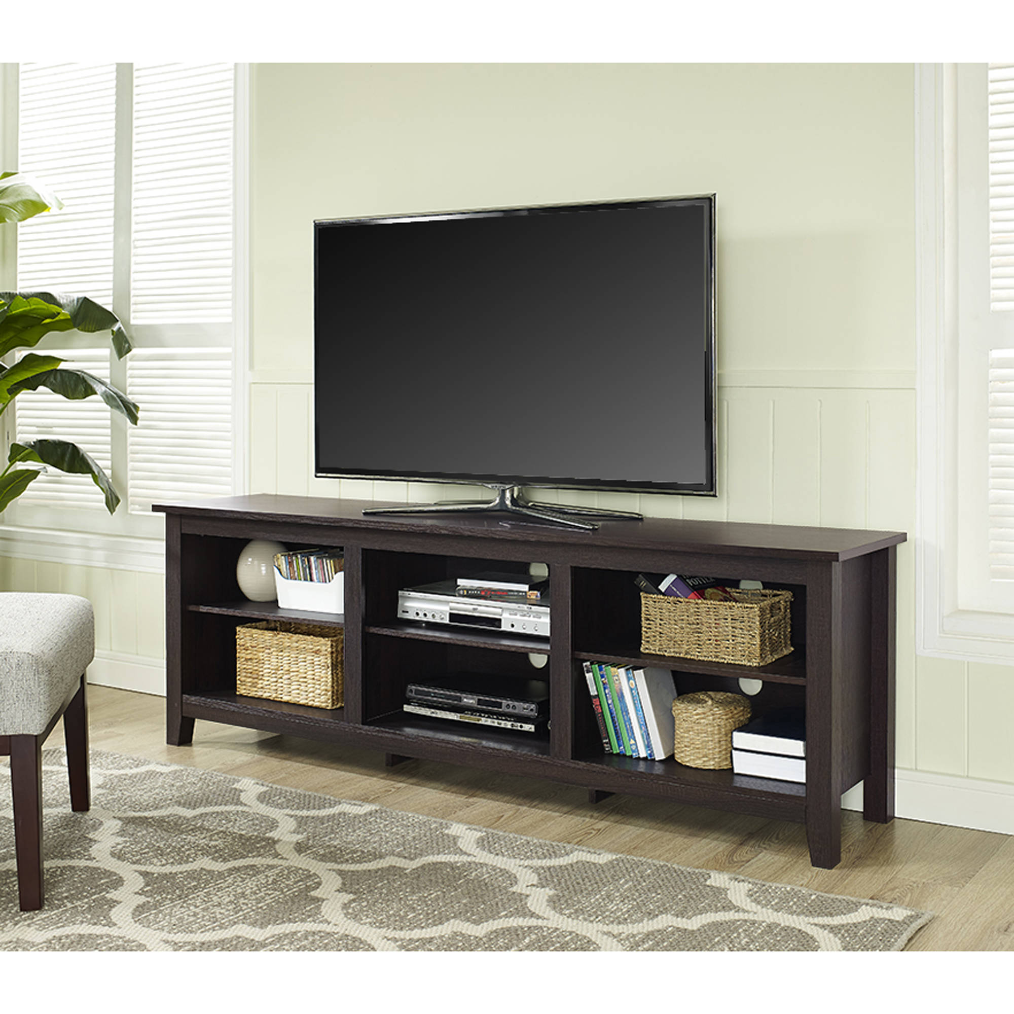 "Wood TV Stand for TVs up to 70"", Multiple Finishes"