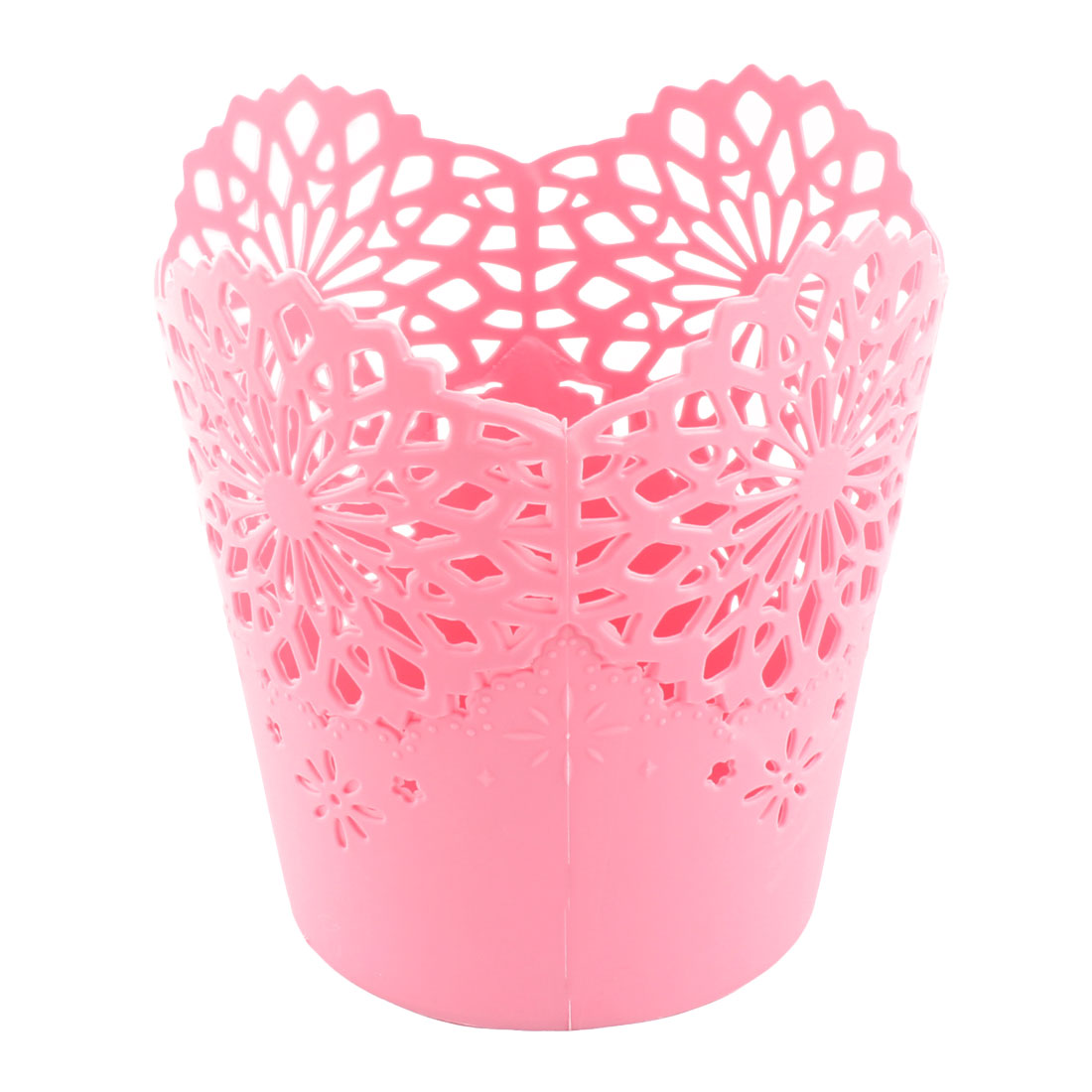 Home Office Desk Plastic Flower Pattern Hollow Out Storage Bucket Basket Pink