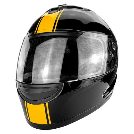 DOT Approved Full Face Motorcycle Helmet Gloss Black Orange Stripe Anti-Fog ()