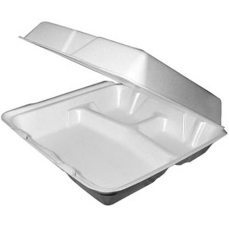 Dart 95HTPF3, 9x9x3-Inch Performer White Three Compartment Foam Container with a Removable Hinged Lid, 200-Piece Case