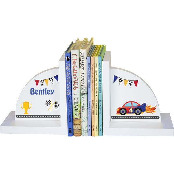 Personalized Race Cars Childrens Bookends