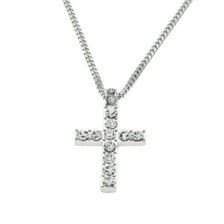 Hip Hop Men Women Jewelry Bling Rhinestone Crystal Cross Pendant Necklace Cross Necklace Craft Kit